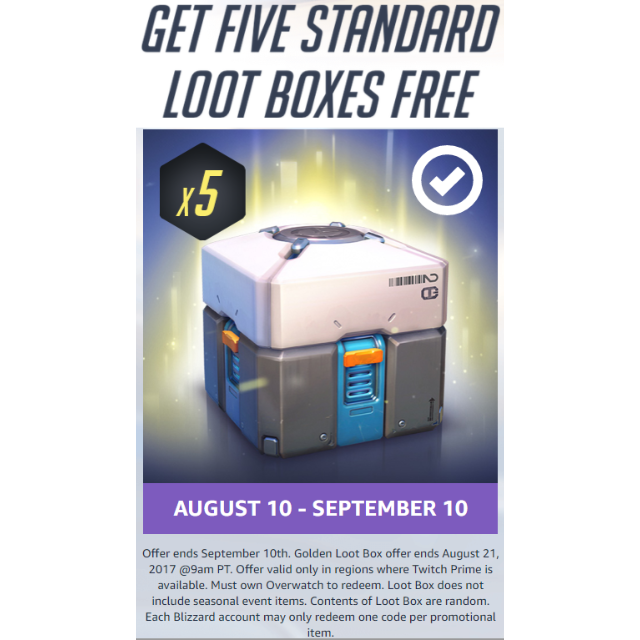 Overwatch - x5 Standard Loot Boxes from Twitch prime [PC/XBOX/PS4