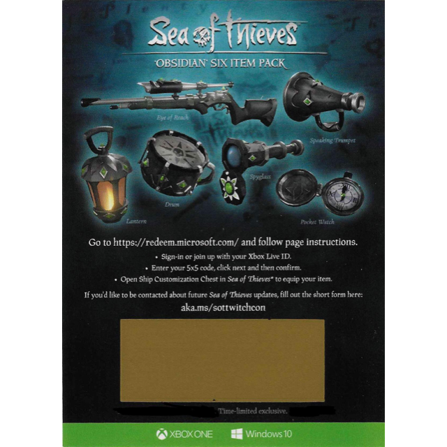 Sea Of Thieves Obsidian Six Item Pack Set DLC Code - XBox