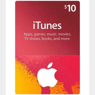 $10.00 iTunes (US)
