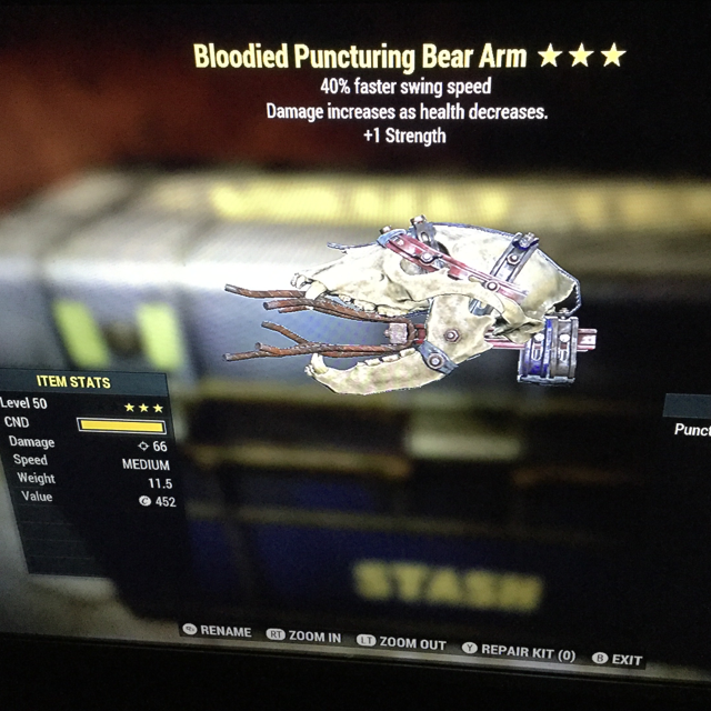 Weapon | bloodied bear arm ss