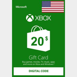 $20.00 Xbox Gift Card -  USA region - instant delivery!!