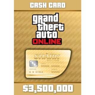 Grand Theft Auto Online: The Whale Shark Cash Card Rockstar GLOBAL 3 500 000 USD Key PC[GTA 5][GTA V]
