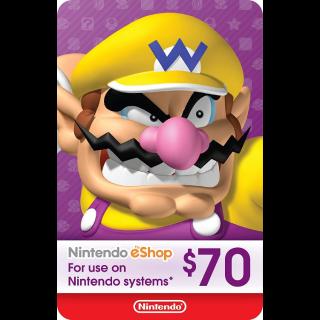 USA - $70.00 Nintendo eShop - Instant Delivery