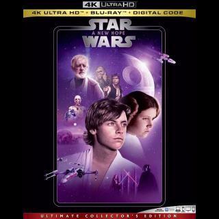 STAR WARS A NEW HOPE MA 4K VUDU 4K ITUNES HD