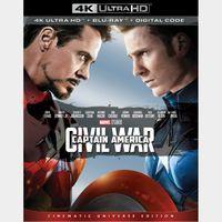 Captain America: Civil War 4K iTunes  [ FLASH DELIVERY ⚡ ] [ports to MA]