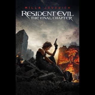 Resident Evil: The Final Chapter 4K UHD Digital Movie Code!