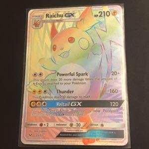 Rainbow Rare Raichu GX Pokémon Card