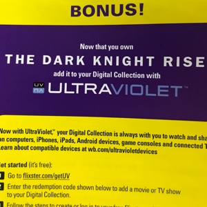 The Dark Knight Rises HD digital download UV Ultraviolet us only Batman