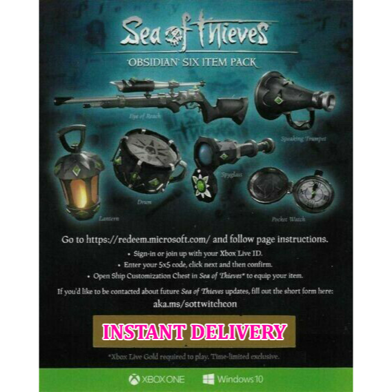 Sea of Thieves Obsidian Six Item Pack Set DLC Code - Other - Gameflip