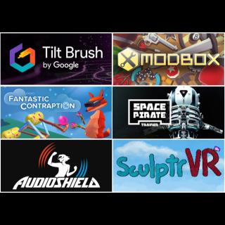 Steam Code Vive: Tilt Brush, Fantastic Contraption, Audio Shield, Space Pirate Trainer, Modbox and SculptrVR