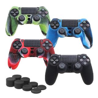 4 Colors Anti-Slip Silicone Cover Case Add 4 Joystick Caps for PS4 Controller