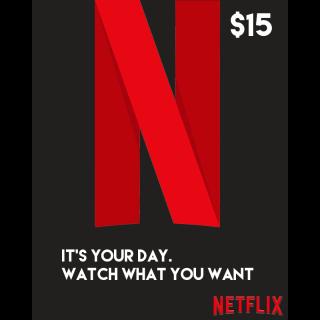 $15.00 Netflix Gift Card