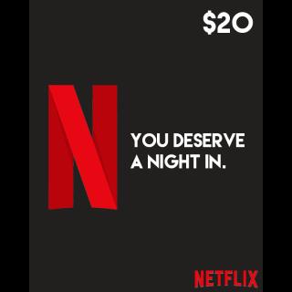 $20.00 Netflix Gift Card