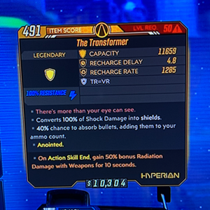 Shield | Transformer God Roll 🔥Anointed 50% Bonus Radiation Damage🔥