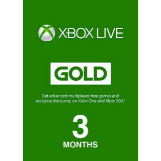 3 Month Xbox Live Gold (Global)