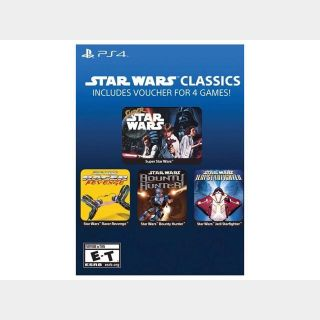 PS4 Star Wars Classics 4 Games Bundle Digital Code Voucher Super Star Wars Racer Revenge Jedi Starfighter Bounty Hunter