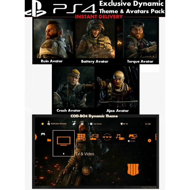 Call of Duty Black Ops 4 | Dynamic Theme & Avatars | PS4 US