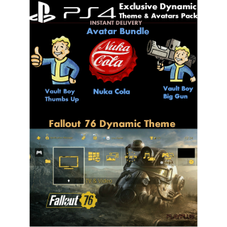 Fallout 76 |Exclusive PS4 Theme & Avatars | US Instant Delivery