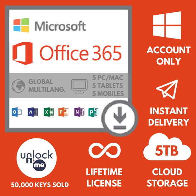 Microsoft Office 365 Account / Office 2016 - [Instant Delivery] - 5 PC
