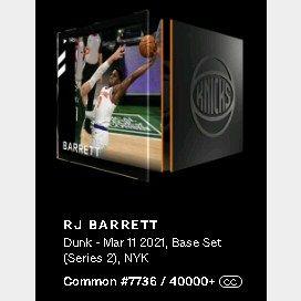RJ Barret Dunk - Mar 11 2021, Base Set (Series 2)