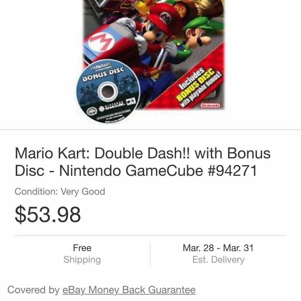 Gcn Mario Kart Double Dash With Bonus Disc Gamecube