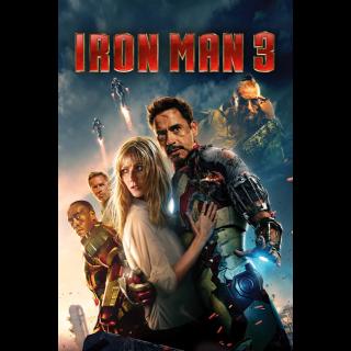 MARVEL STUDIOS IRON MAN 3 (HD DIGITAL CODE) (VUDU , ITUNES, MOVIESANYWHERE INSTANT DELIVERY)