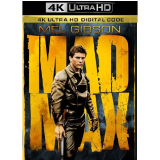 MAD MAX (1979 MEL GIBSON) (4K ULTRA HD UHD DIGITAL CODE) ITUNES INSTANT DELIVERY