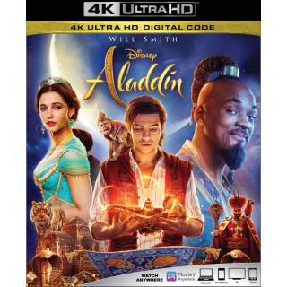 ALADDIN (2019 LIVE ACTION) (4K UHD DIGITAL CODE) VUDU, MOVIESANYWHERE INSTANT DELIVERY IDK5