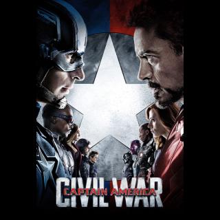 MARVEL STUDIOS CAPTAIN AMERICA CIVIL WAR ( HD DIGITAL CODE) (VUDU, ITUNES, MOVIESANYWHERE INSTANT DELIVERY)