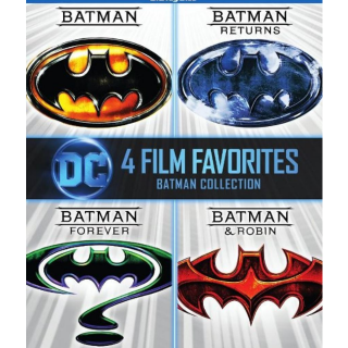 DC COMICS BATMAN 4 FILM COLLECTION (1989, RETURNS, FOREVER & ROBIN) (HD DIGITAL CODE) VUDU, MOVIESANYWHERE INSTANT DELIVERY