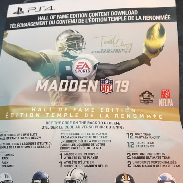 Madden 19 Hall Of Fame DLC Only (PS4) - PS4 Games