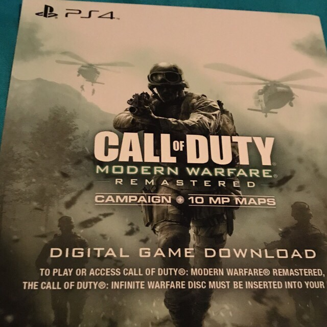call of duty modern warfare remastered ps4 download code