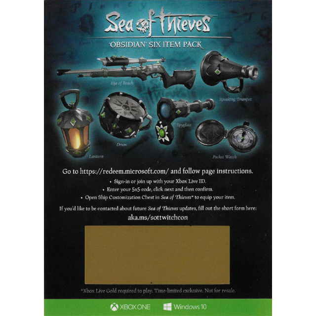 Sea of Thieves : Obsidian Six Item Pack Set DLC Code - XBox
