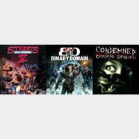Binary Domain + Condemned + Streets of Rage 2 (Instant delivery)