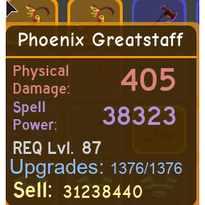 Other | Phoenix Greatstaff MAXED