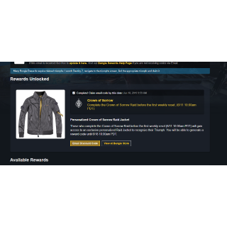 Destiny 2 Crown of Sorrow jacket CODE