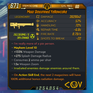 Weapon   M10 Yellowcake Level 60