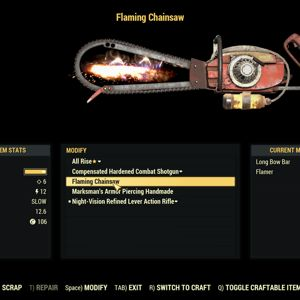 Weapon | Flaming longbow chainsaw