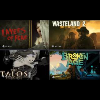 PS4 Bundle - Layers of Fear + Wasteland 2 + The Talos Principle + Broken Age