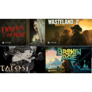 PS4 Bundle - Layers of Fear + Wasteland 2 + The Talos Principle + Broken Age