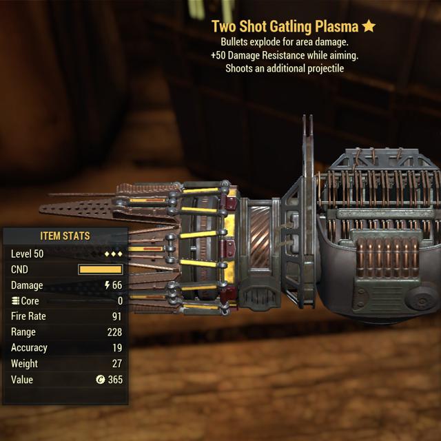 Weapon | 3* Two Shot Explosive Gatling Plasma - In-Game
