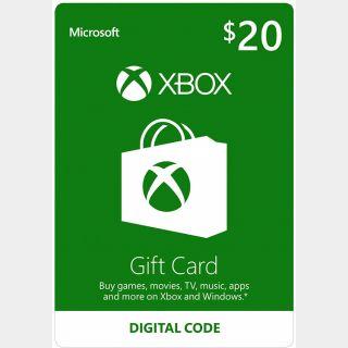 $20.00 Xbox Gift Card