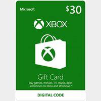 $30.00 Xbox Gift Card