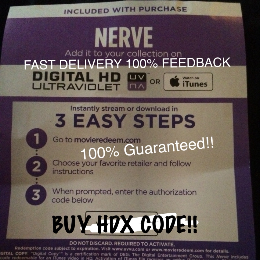 NERVE HDX Ultraviolet or ITunes Digital Movie Code!! 100