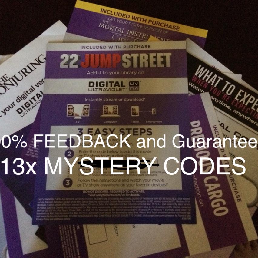 13 random Mystery Codes for Ultraviolet, iTunes, VUDU, Flixster etc