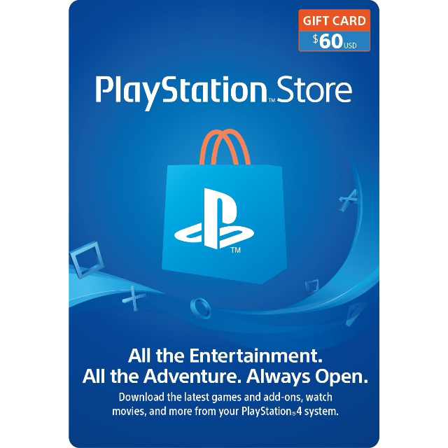 60 playstation store gift card ps4 ps3 ps vita digital code playstation store gift. Black Bedroom Furniture Sets. Home Design Ideas