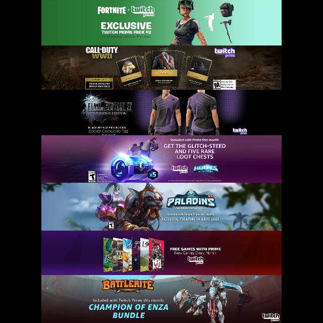 Twitch Prime Loot - Fortnite Skin, Battlerite, COD:WW2, FFXV, HotS