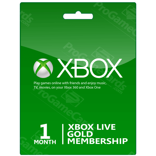 Xbox One- 360 Live Gold 1 Months Membership Card - Xbox Gift Card