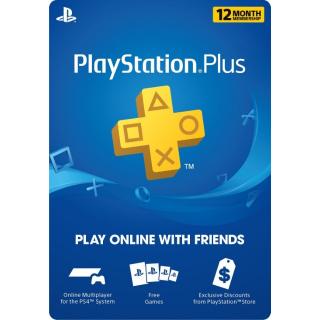 1 Year PlayStation Plus Membership - PS3/ PS4/ PS Vita