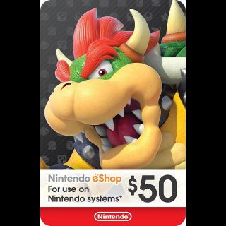 Nintendo eShop Gift Card $50 - Switch / Wii U / 3DS